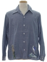 Mens Chambray Work Style Hand Painted Hippie Work Fishing Shirt