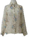 Womens Sheer Print Disco Style Shirt