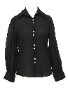 Womens Cotton Blend Solid Disco Style Shirt