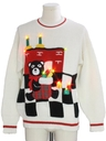 Unisex Vintage Totally 80s Bear-riffic Lightup Ugly Christmas Sweater
