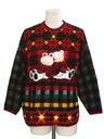 Unisex Vintage Multicolored Lightup Totally 80s Bear-Riffic Ugly Christmas Sweater