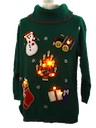 Womens Oversized Slouch Fit Totally 80s Look Lightup Ugly Christmas Sweater