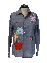 Womens Appliqued Chambray Hippie Shirt