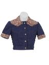 Womens Western Style Crop Top Shirt