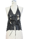 Womens Leather Motorcycle Vest Halter Top