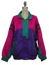 Womens Totally 80s Hip Hop Style Oversized Windbreaker Jacket