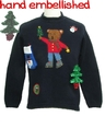 Womens Bear-riffic Hand Embellished Ugly Christmas Sweater