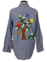 Unisex Embroidered Western Chambray Hippie Shirt