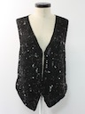 Womens Totally 80s Beaded Cocktail Shirt Vest