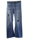 Mens Distressed Navy Style Bellbottom Jeans Pants