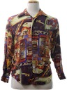 Mens/Boys Print Disco Style Club/Rave Shirt