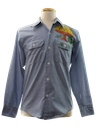 Unisex Hand Painted Chambray Hippie Shirt