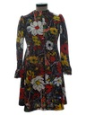 Womens Knit Mod Pow-Flower Hippie Dress