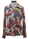 Womens Pow-Flower Hippie Print Disco Shirt