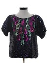Womens Totally 80s Beaded Cocktail Shirt
