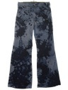 Mens Tie Dye Acid Washed Navy Issue Bellbottom Jeans Pants