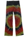 Mens Multicolored Tie Dyed Navy Issue Bellbottom Jeans Pants