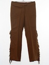 Womens Flared Fringed Leather Pants
