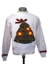 Womens Mulitcolor Lightup Ugly Christmas Sweater