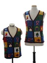 Womens Matching Pair of Two Ugly Christmas Sweater Vests