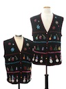 Unisex Matching Pair of Two Ugly Christmas Sweater Vests