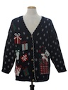Unisex Vintage Bear-riffic Ugly Christmas Cardigan Sweater