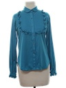Womens Solid Ruffled Secretary Shirt