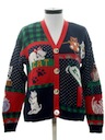 Womens Totally 80s Crazy Cat Lady Cardigan Sweater