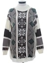 Womens Totally 80s Oversized Snowflake Ski Sweater