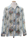 Mens Print Disco Style Cotton Blend Mod Hippie Shirt