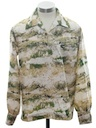 Mens Mod Hippie Print Disco Style Pullover Shirt