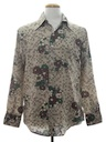 Mens Print Disco Style Hippie Cotton Blend Shirt