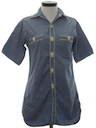 Womens Hippie Embroidered Chambray Shirt