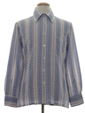 Mens Mod Cotton Blend Print Disco Style Sport Shirt