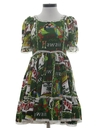 Womens Hawaiian Square Dance Mini Dress