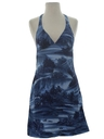Womens Hawaiian Style Mini Halter Dress