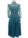 Womens Totally 80s Teal Prom Or Cocktail Dress