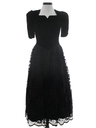 Womens Designer Velvet and Lace GothLook Black Prom Or Cocktail Maxi Dress
