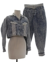 Womens Totally 80s Acid Washed Denim Pantsuit