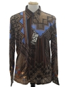 Mens Designer Shiny Nylon Abstract Geometric Print Disco Shirt*