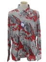 Mens Designer Shiny Nylon Art Print Disco Shirt*