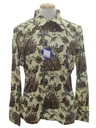 Mens Designer Shiny Nylon Bird Art Print Disco Shirt*