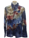 Mens Designer Shiny Nylon Abstract Art Print Disco Shirt*