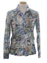 Mens Shiny Nylon Abstract Art Print Disco Shirt