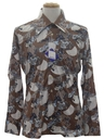 Mens Designer Shiny Nylon Art Print Disco Shirt*