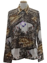 Mens Designer Shiny Nylon Baseball Art Print Disco Shirt*
