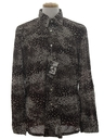 Mens Designer Shiny Nylon Print Disco Shirt*