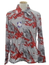 Mens Designer Shiny Nylon Print Disco Shirt*