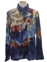Mens Designer Shiny Nylon Abstract Print Disco Shirt*