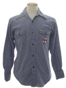 Mens Chambray Embroidered Western Hippie Shirt